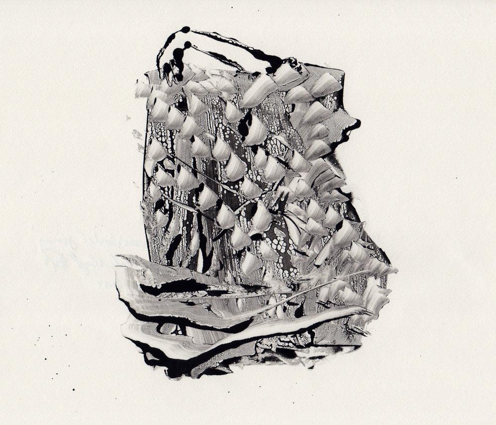 Upper World Journey, 2014, gelatin monotype, 10x9 inches