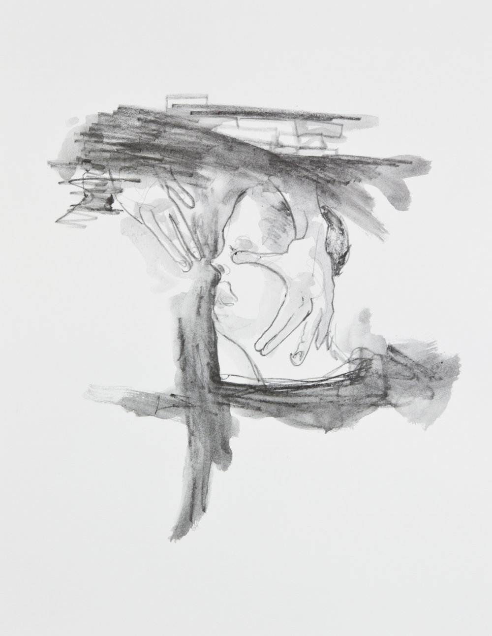 Cupping a Cosmic Face, 2013, graphite on paper, 11x14 inches