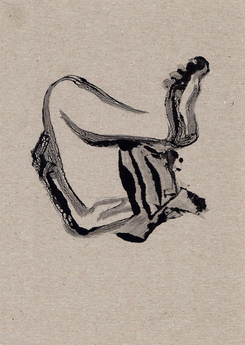 Untitled Wrestle, 2014, gelatin monotype, 11x8 inches