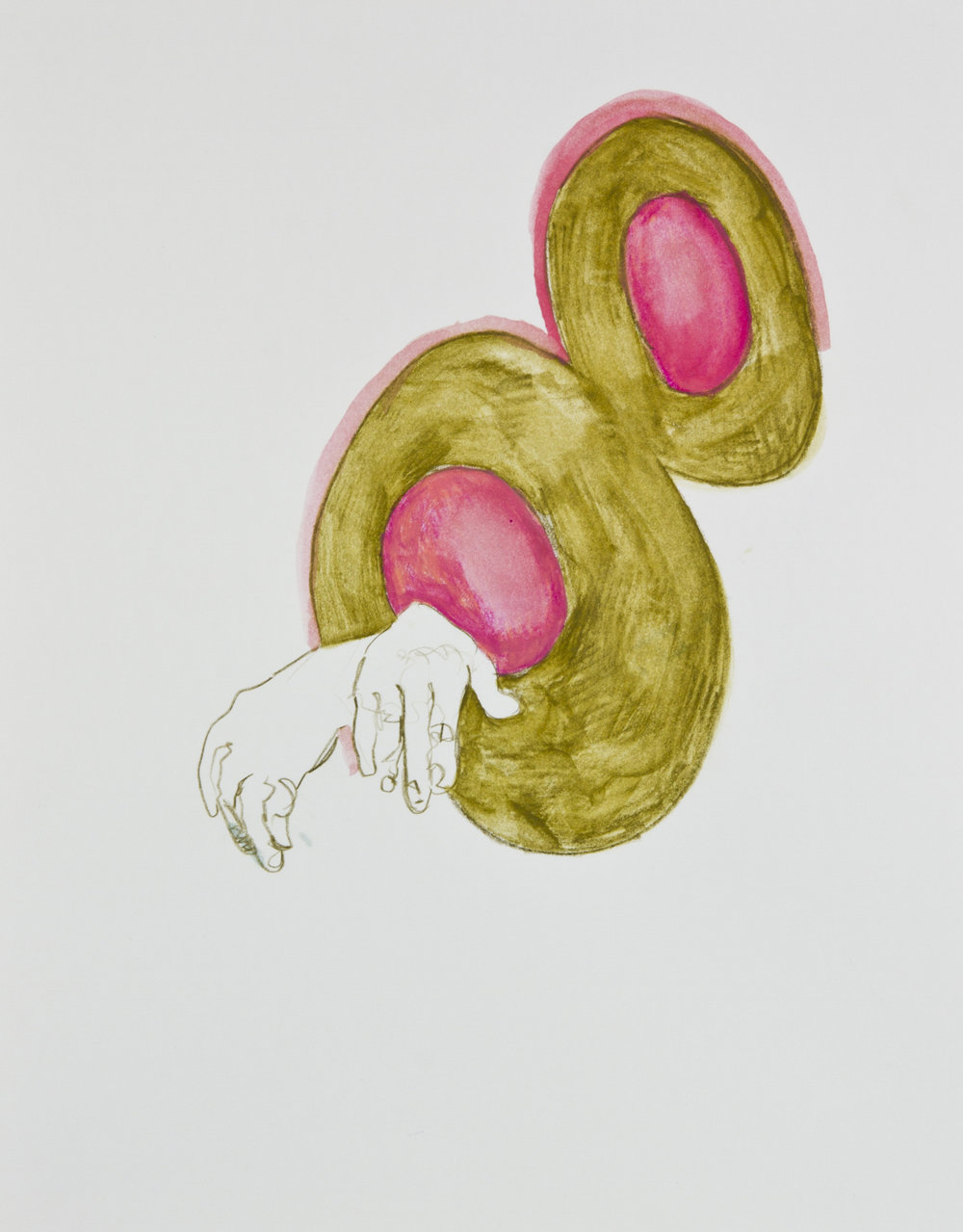 Double O, 2013, graphite, crayon and watercolor pencil on paper, 11x14 inches