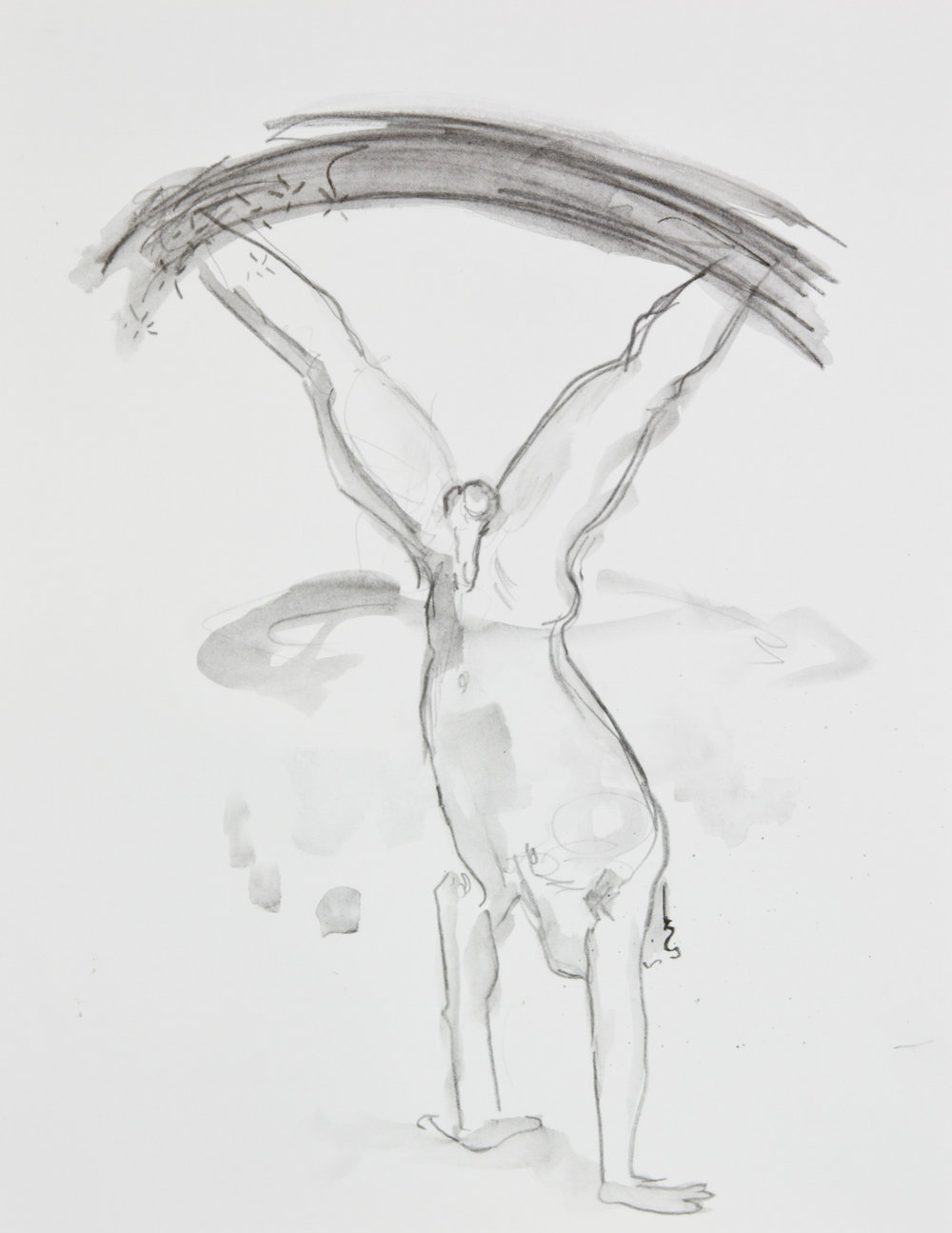 Flip And Hang From Nowhere, 2013, graphite on paper, 11x14 inches