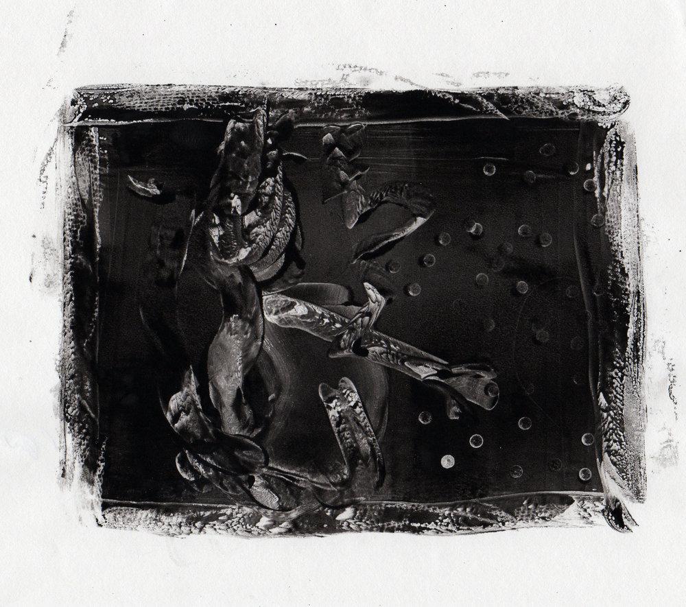 White Dagger, 2014, gelatin monotype, 10x9 inches