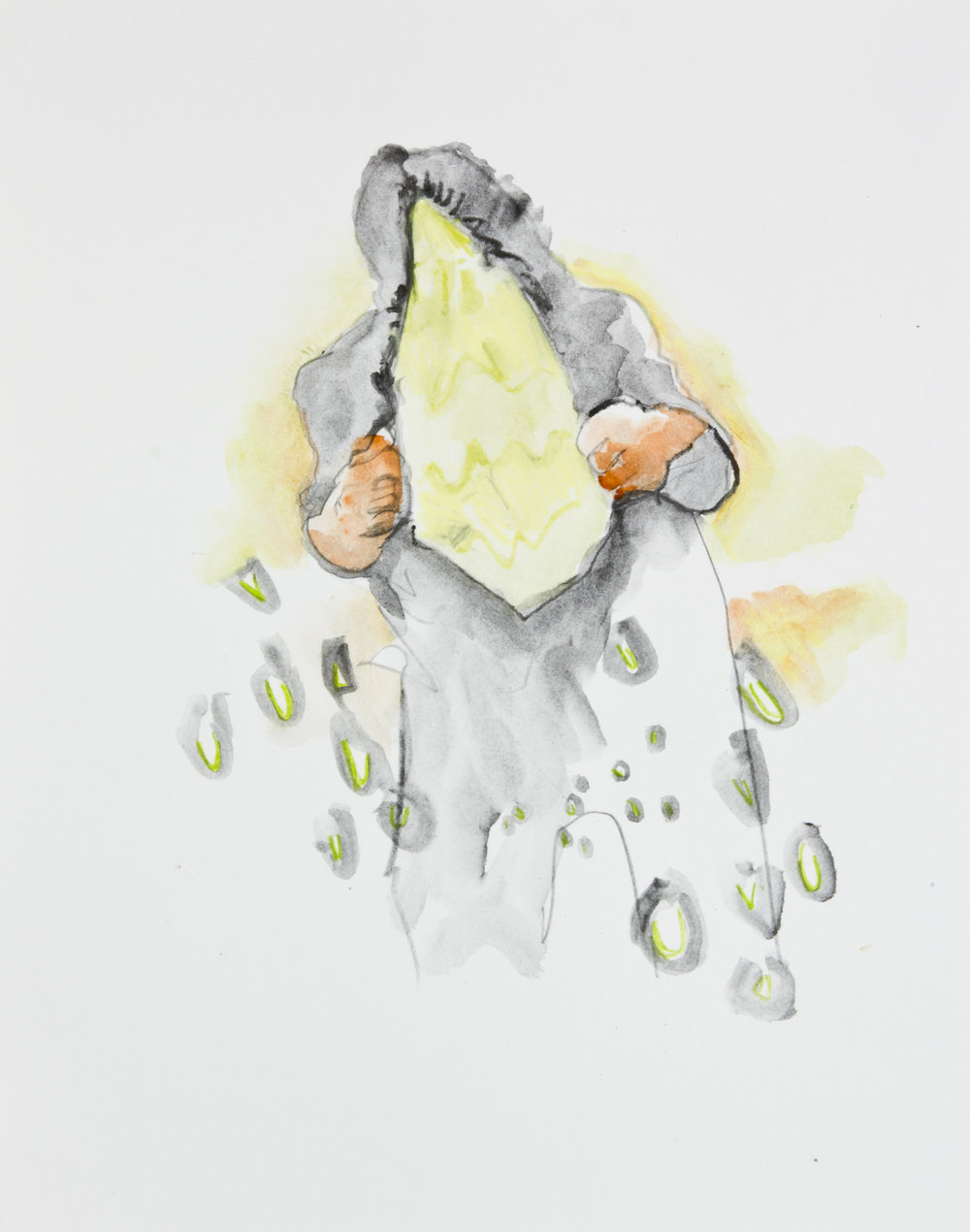 Introvert extrovert, 2013, graphite, crayon and watercolor pencil on paper, 11x14 inches