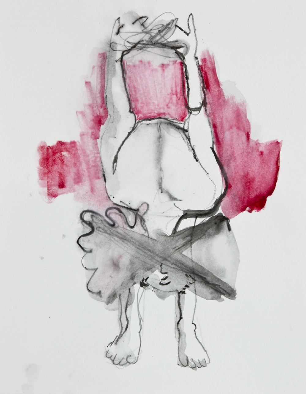 Longer By Stretching It, 2013, graphite, crayon and watercolor pencil on paper, 11x14 inches