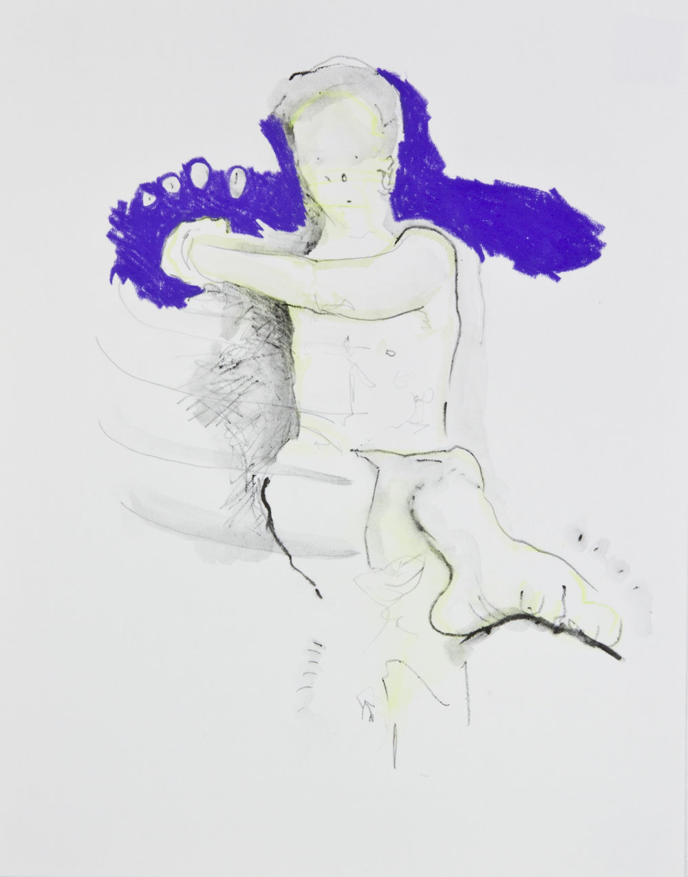 Purple Can Can, 2013, graphite, crayon and watercolor pencil on paper, 11x14 inches