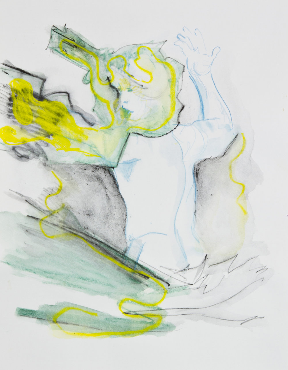 Thread Yield, 2013, graphite, crayon and watercolor pencil on paper, 11x14 inches