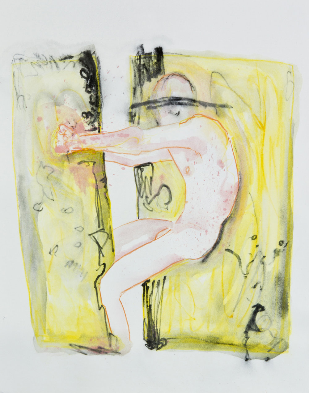 Two Yellow Pools, 2013, graphite, crayon and watercolor pencil on paper, 11x14 inches