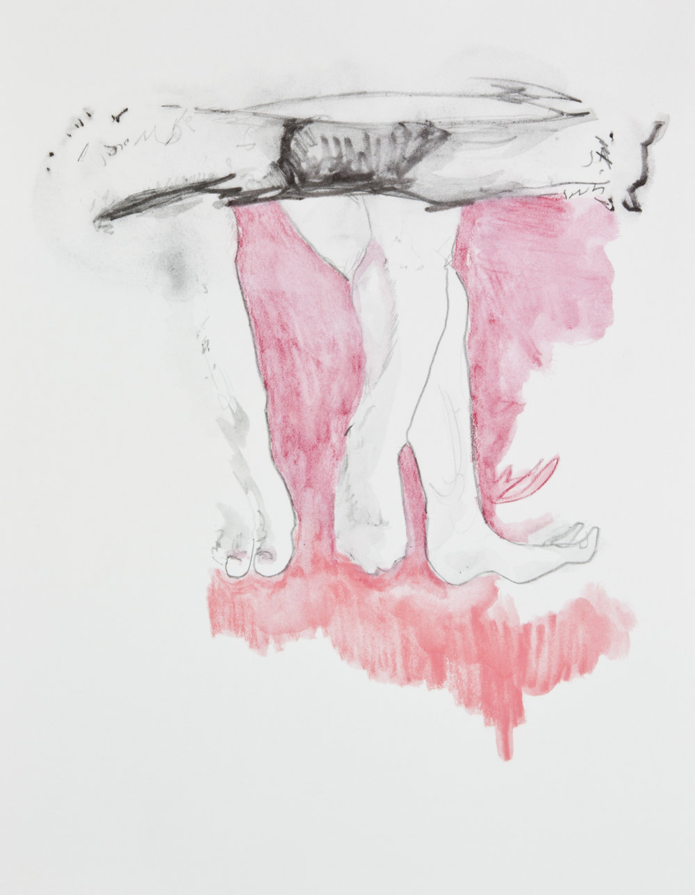 We Dangle In Place, 2013, graphite, crayon and watercolor pencil on paper, 11x14 inches