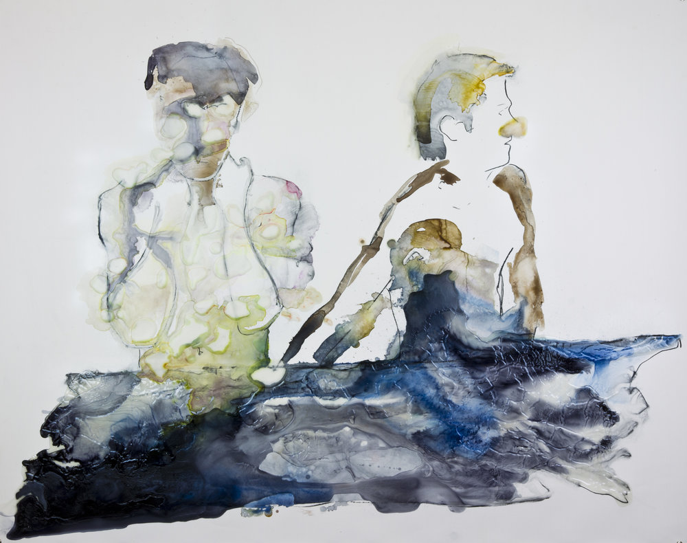 One If by Hand Two If by Sea, 2012, watercolor and acrylic on polypropylene, 48x60 inches