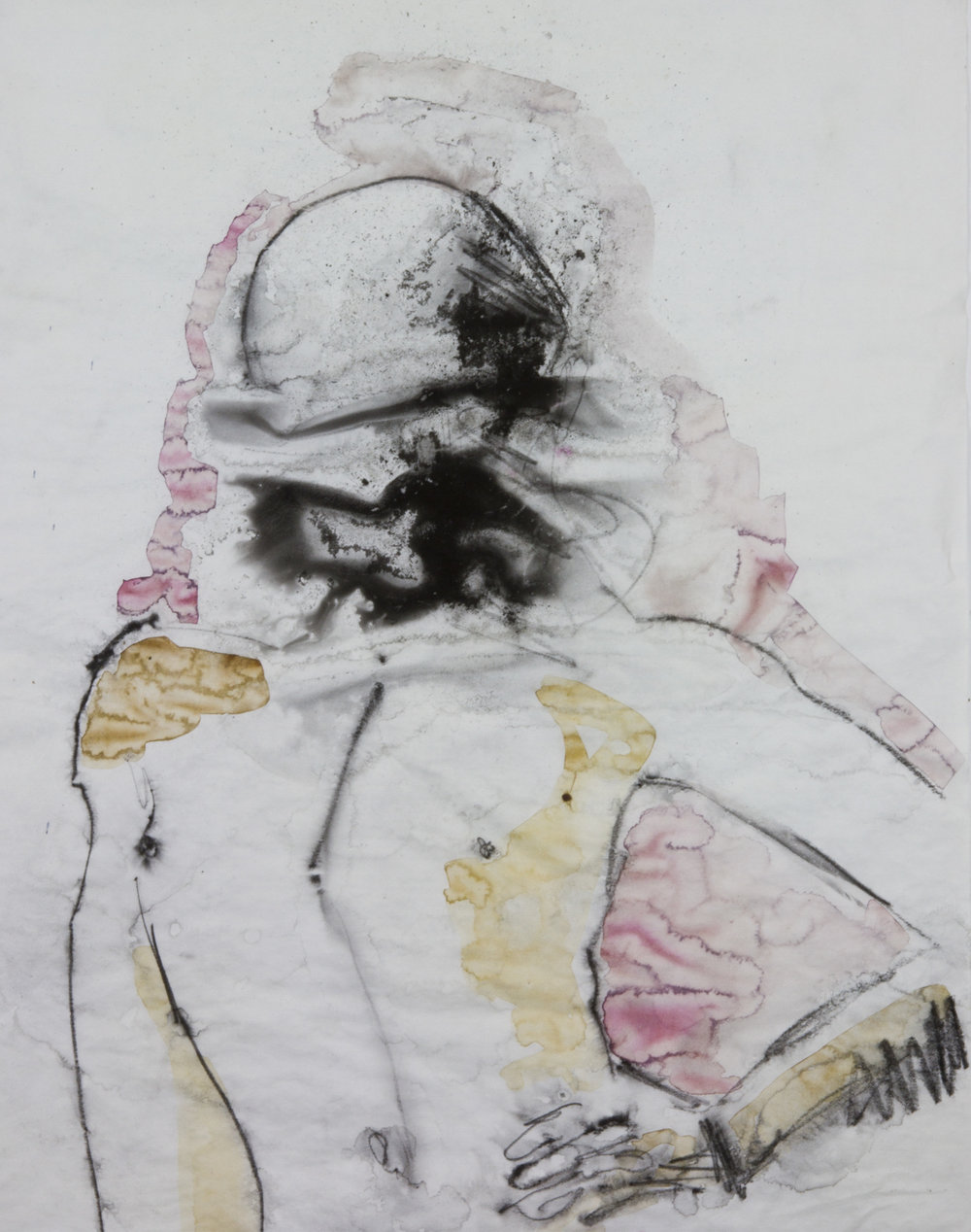 Blind Hood, 2012, watercolor and acrylic on tracing paper, 18x24 inches