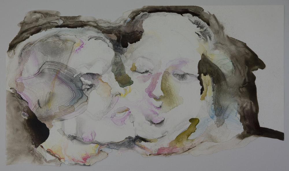 Twins, 2011, watercolor on polypropylene, 26x40 inches