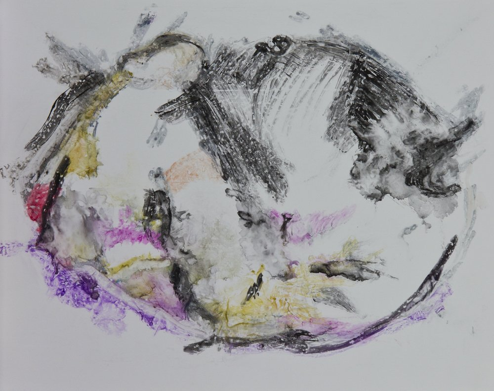 Acts 26, 2010, watercolor monotype on polypropylene, 11x14 inches