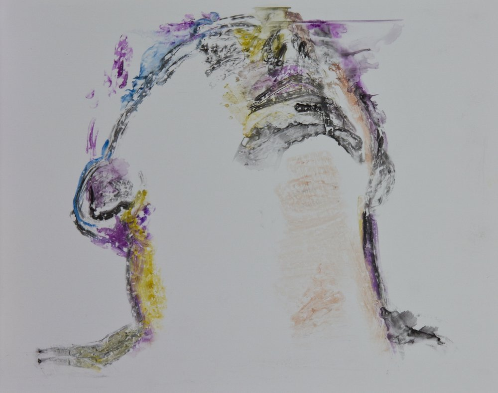 Acts 28, 2010, watercolor monotype on polypropylene, 11x14 inches