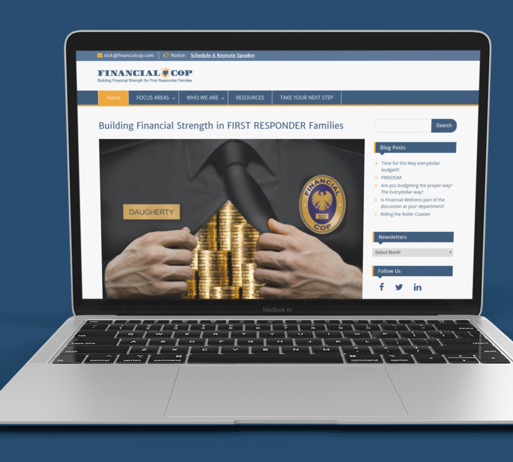 """Messaging + Website Design -  Financial Cop   """"VisionSales Consulting was a pleasure to work with and Kimberly was great. Very prompt and ran with my vision and idea for my site redesign. Very happy with the end result and will be using her for all future web site edits!!! """" -    Nick Daugherty"""