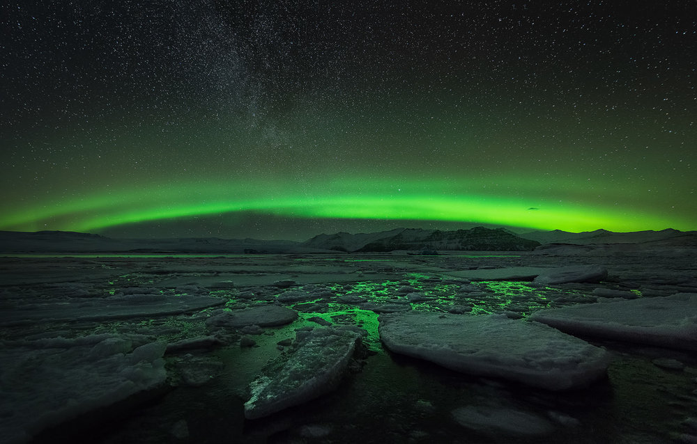 Aurora over Jökulsárlón Glacier Lagoon, South Coast Iceland