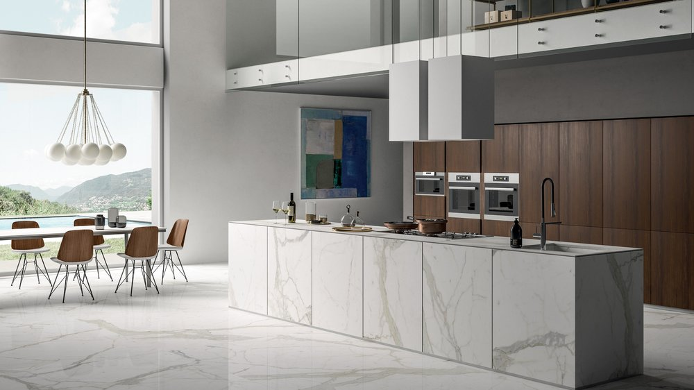 "SAPIENSTONE - IRIS technical ceramics goes into the kitchens of homes, bars, and restaurants with an unalterable, scratch-proof, easy to clean countertop. Presented in the ""Around the Top"" European tour in 2017, SapienStone eliminates problems with hot dishes, chemicals, and scratches.< See More"
