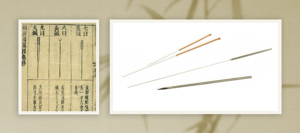 Detail of 17th century Chinese woodblock illustration showing the 'Nine Needles' & comparison photograph showing Acupuncture needles' very small size compared to a hypodermic needle.