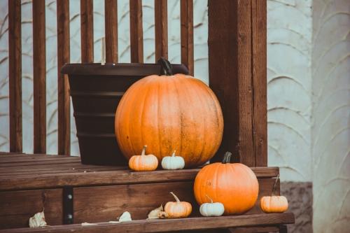 Pumpkins on doorstep