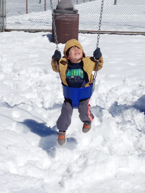 Swinging in the snow!