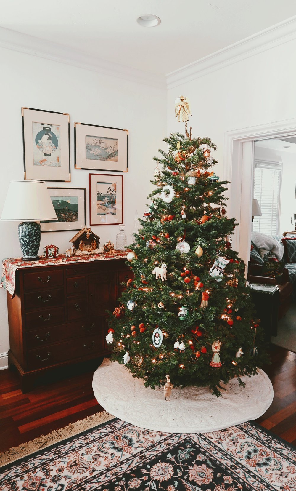 My parent's gorgeous Christmas tree and nativity set up. My favorite ornaments include the vacuum cleaner and alien spaceship (don't ask… or you can!)