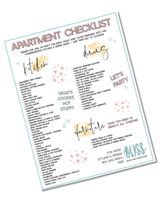 THIS CHECKLIST INCLUDES… - • A printable list of kitchen, dining, living, bedroom, washroom & cleaning items you will need• Perfect for outfitting your first apartment or if you're looking to refresh your current space• The dish on what I have purchased to make my San Francisco studio apartment feel like home