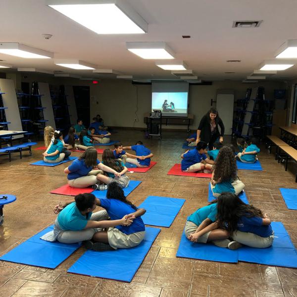 Ms. Garcia facilitating PE class at Nevada Rise Academy