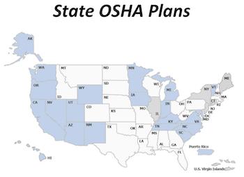 Blue- State OSHA White- Federal OSHA plans
