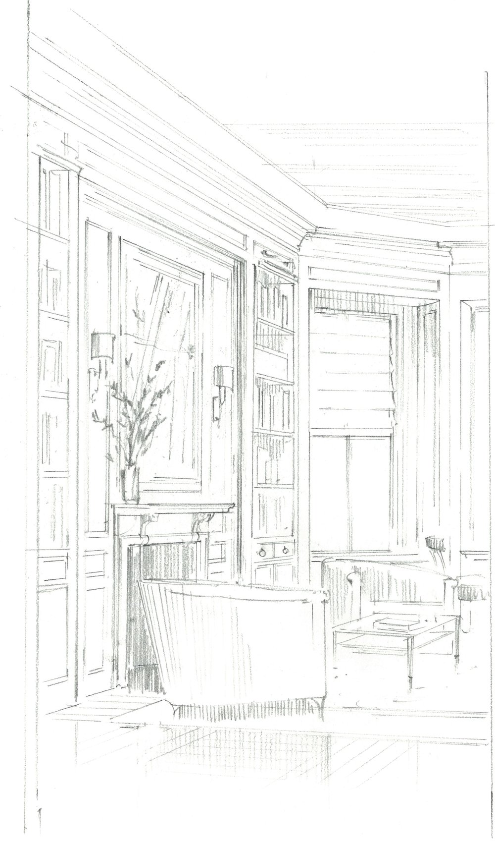 Quick, idea-laden sketch for a townhouse family room