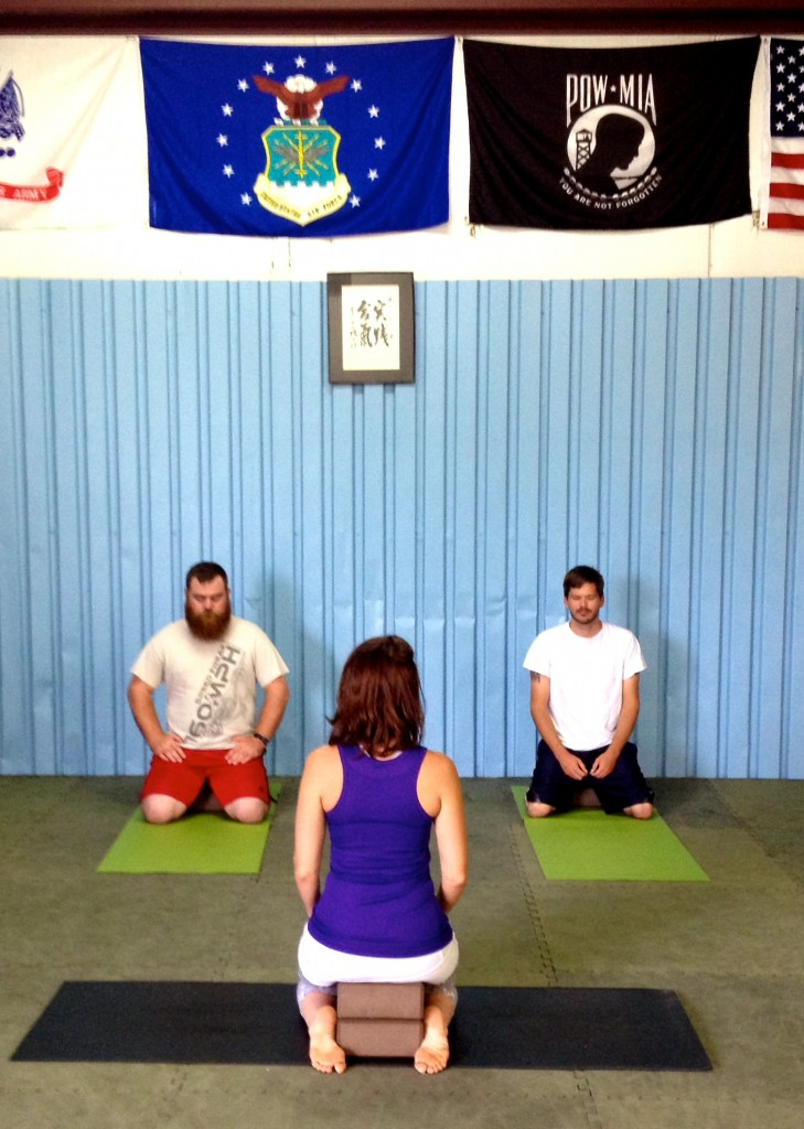 Jennifer Wright leads a Mindful Yoga Therapy class at Tier 2 in Cincinnati.