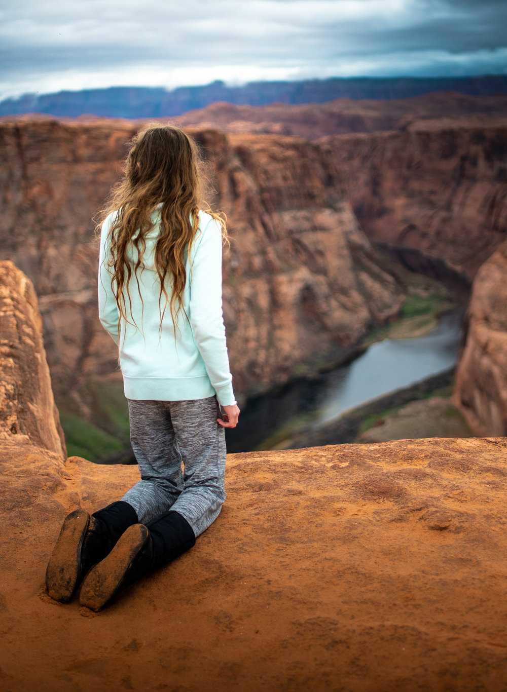 I found this exceptionally interesting. This young girl sat on her knees for 10 minutes. She sat silent, looked up and down the canyon. She was one of the only humans there that I didn't see on a cell phone. I hope she takes something greater away from Horseshoe Bend, and develops a deep application for our wild places.