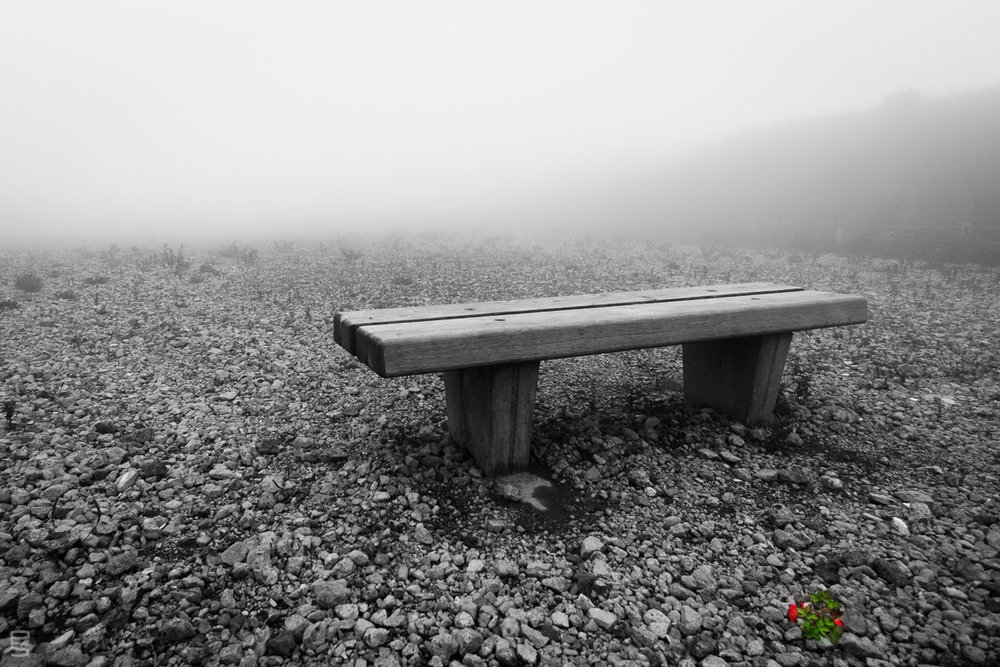 Life . Eric Seymour, 2016 . A bench atop  Mount Komagatake , Japan.