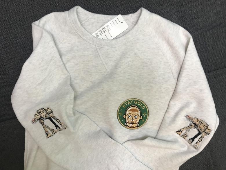 Un sweatshirt à thème Starwars que j'ai offert à mon chéri: le patch rond vient de  La barbuda  et les autres de Aliexpress
