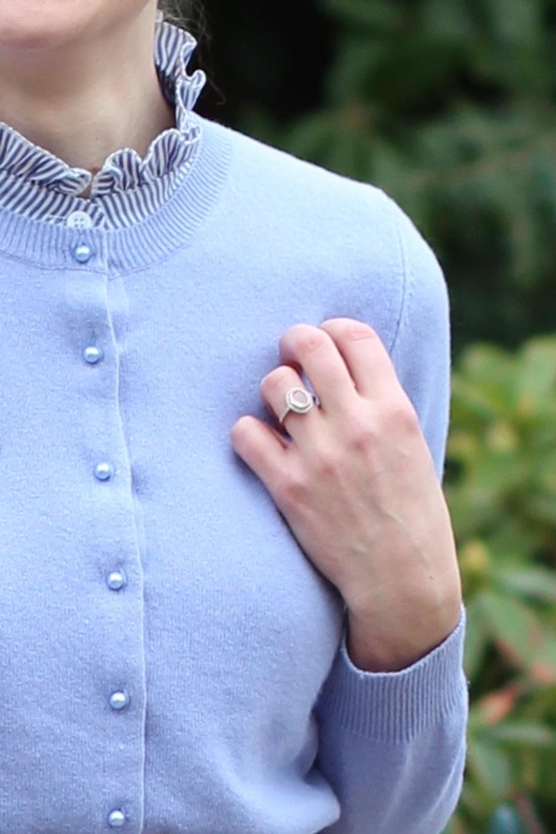 Blog mode porter pull lilas violet couleurs froides blonde