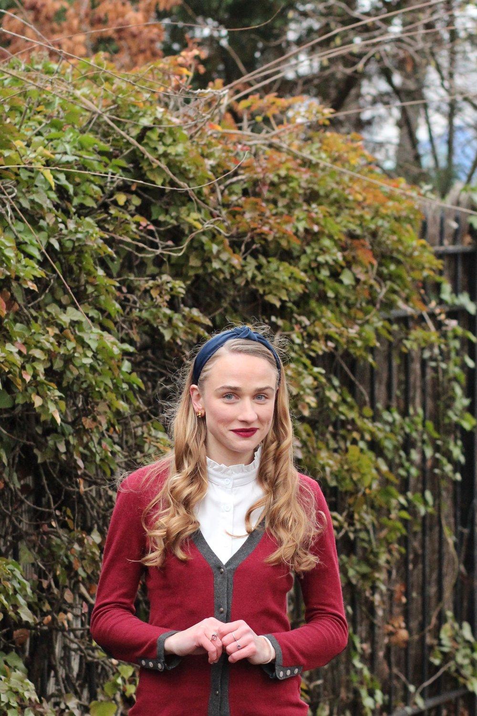 Blog mode look hiver manteau bordeaux bleu