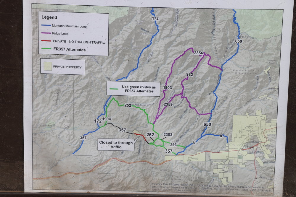 Map showing alternate routes to Hewitt Canyon Road.