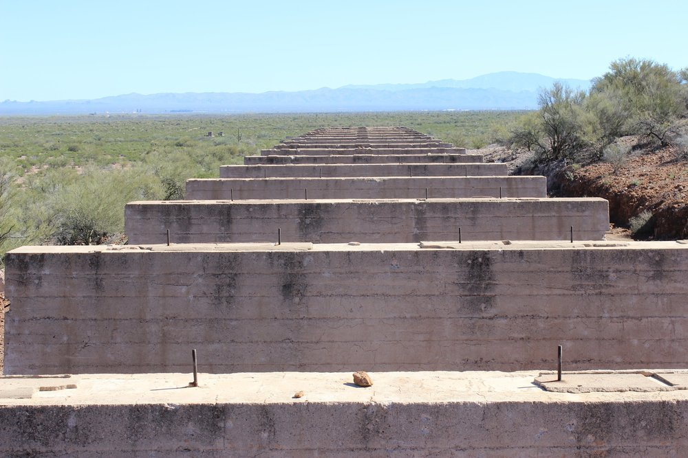 Elevated platforms that were used to carry railroad tracks at the smelting site