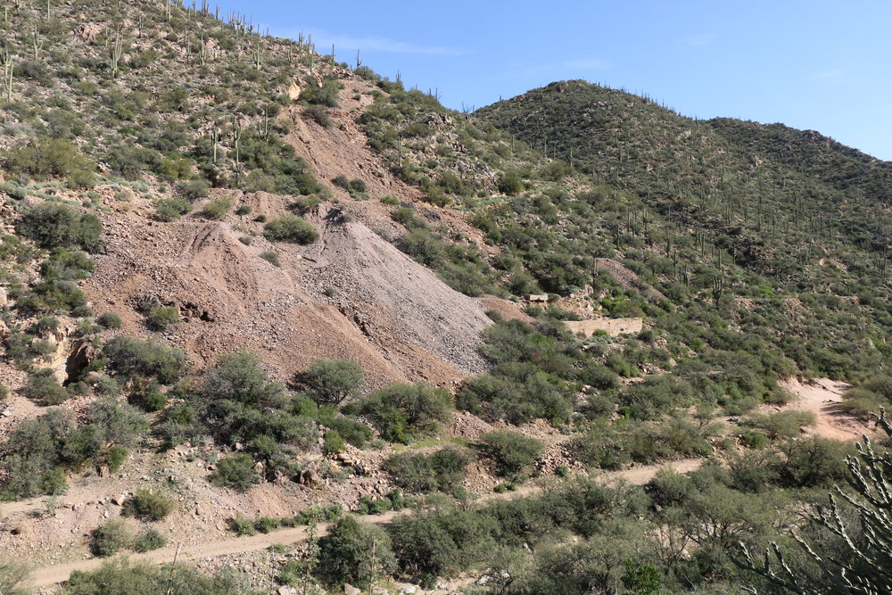 Some of the tailings and ruins left on the north side of the canyon at Tip Top.