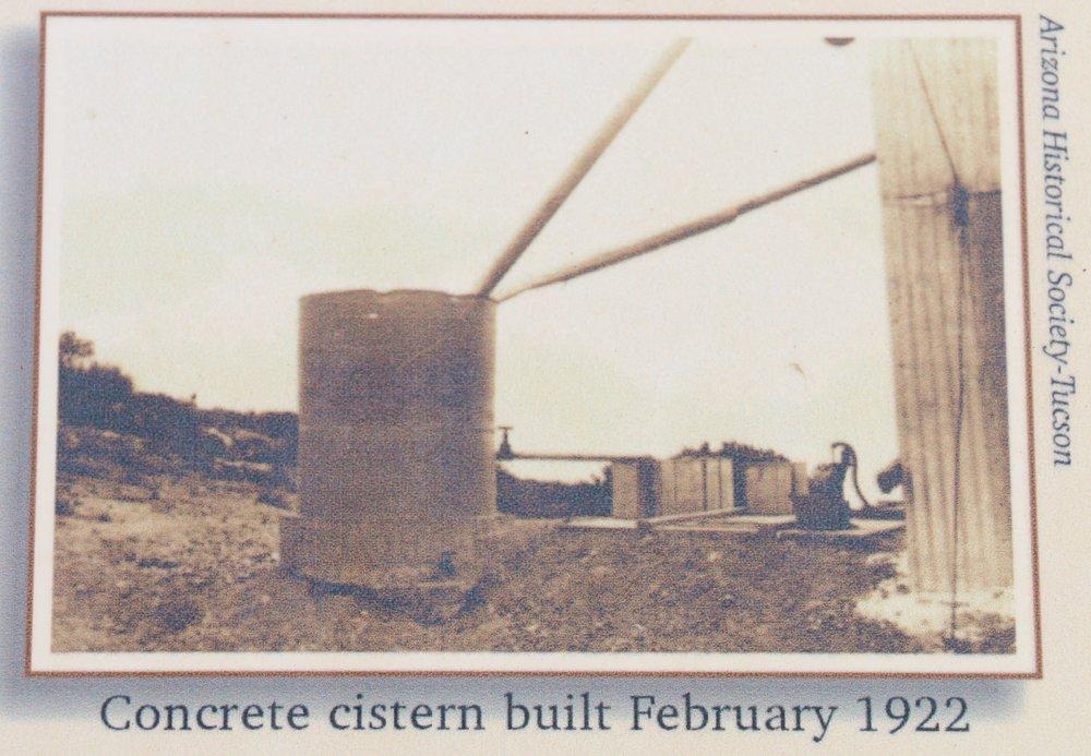 """Concrete cistern built Feb. 1922"" from Arizona Historical Society - Tucson."