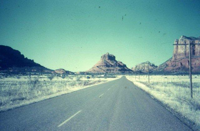 Bell Rock and the lone road into Sedona (1950's)