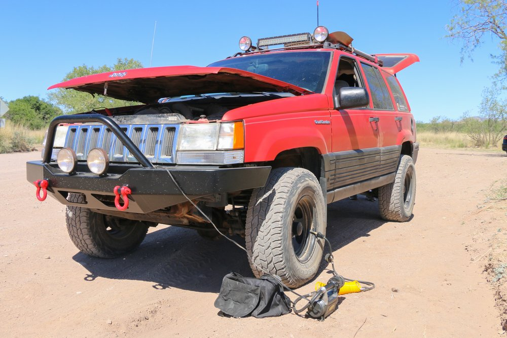 Airing up the tires before the next, short highway leg.