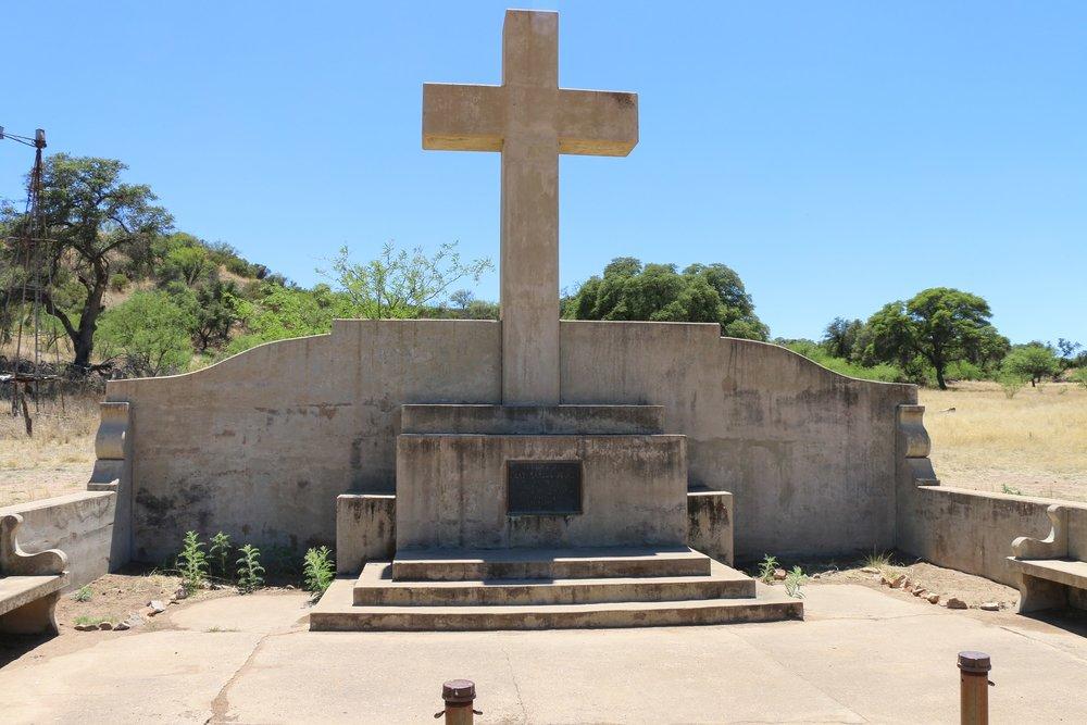 A monument to Marcos de Niza in Lochiel on the US/Mexico Border.
