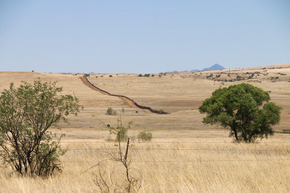 The border fence as seen from near Lochiel.