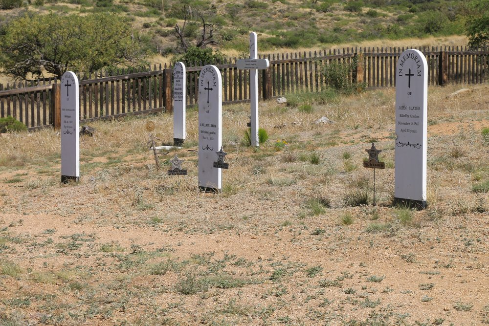 The Post Cemetery, a short distance up trail from the main ruins.
