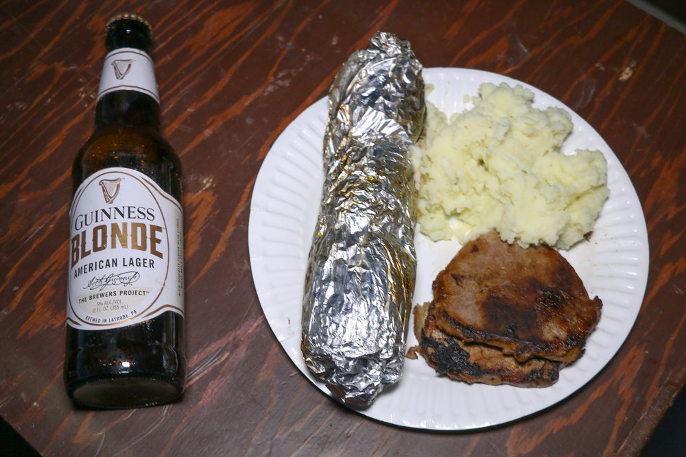Night #1 Dinner: Steak & mashed potatoes with corn and beer!