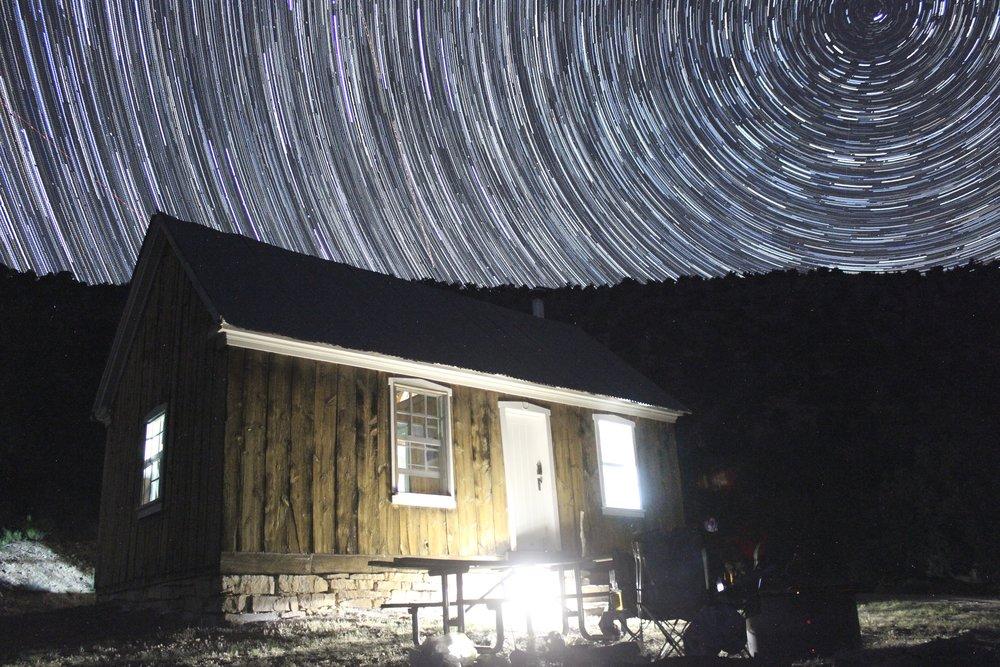 Jumpup Cabin at night.