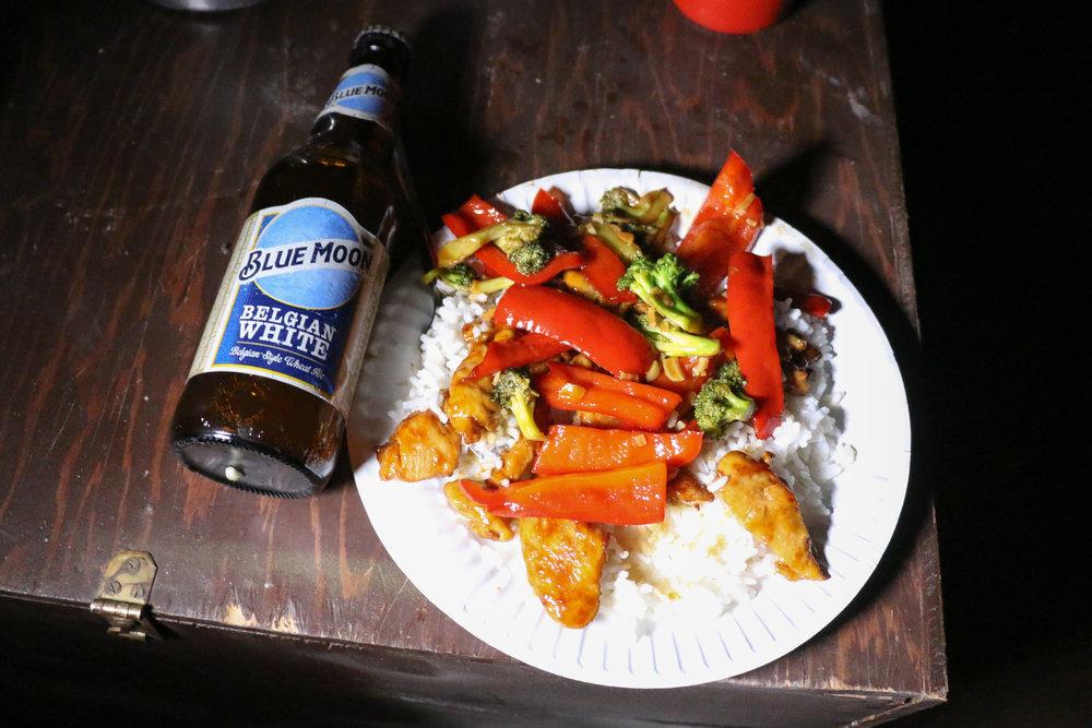 Night #3 dinner - stir-fry and beer!