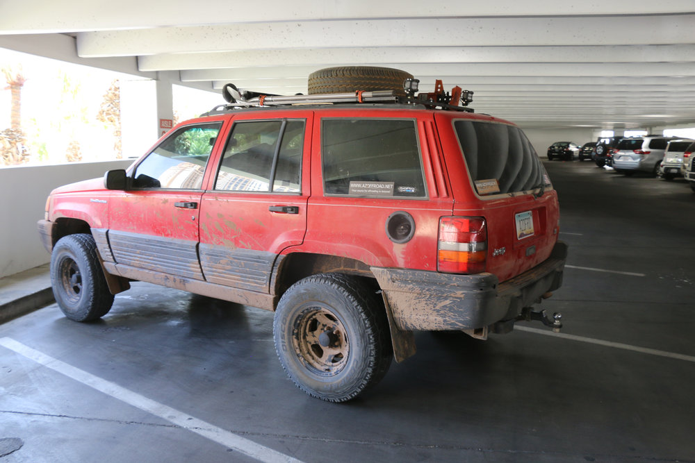 We win the award for dirtiest vehicle in the Mirage garage.