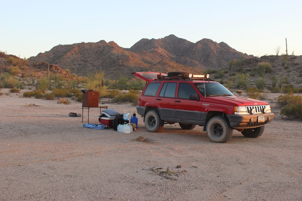 First night's campsite in the Cholla Hills.