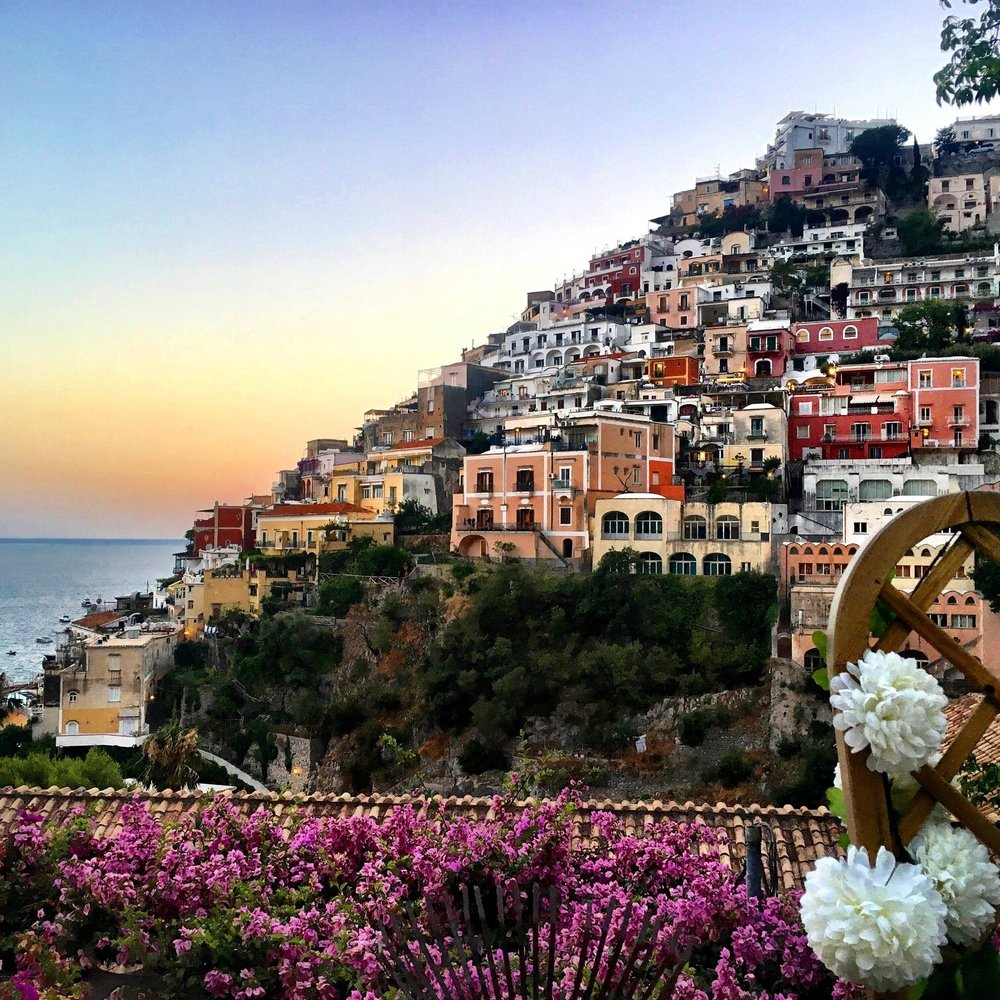 Positano hillside overlooking water