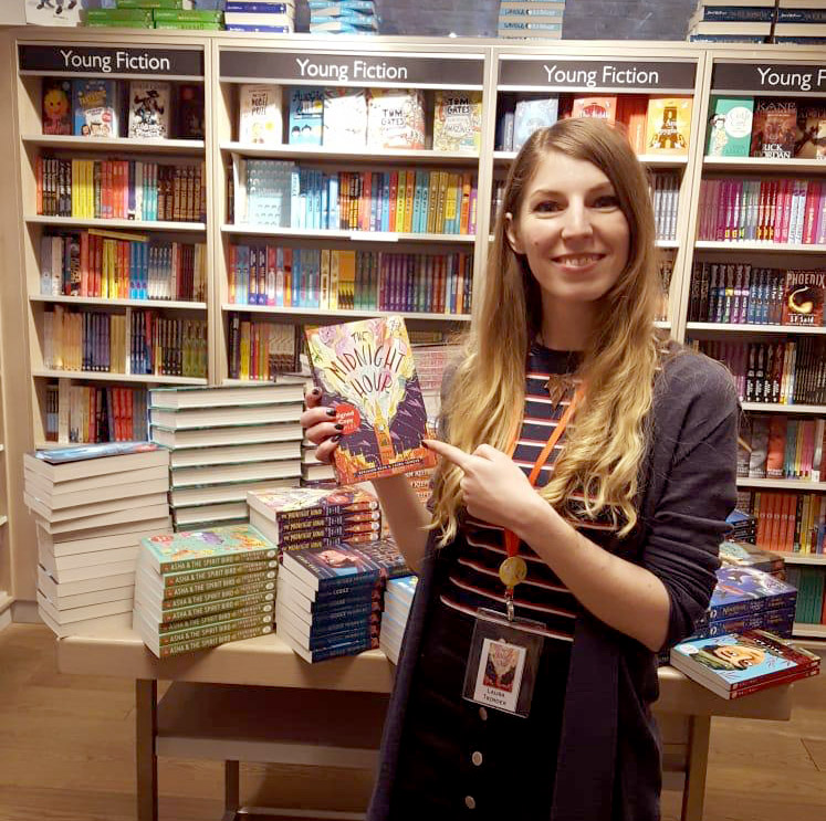 Being goofy with my pile of signed (and doodled in) books at Foyles Charing Cross! (How do people make this look cool?)